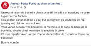 Post Facebook Auchan Economie Recyclage Bouteilles